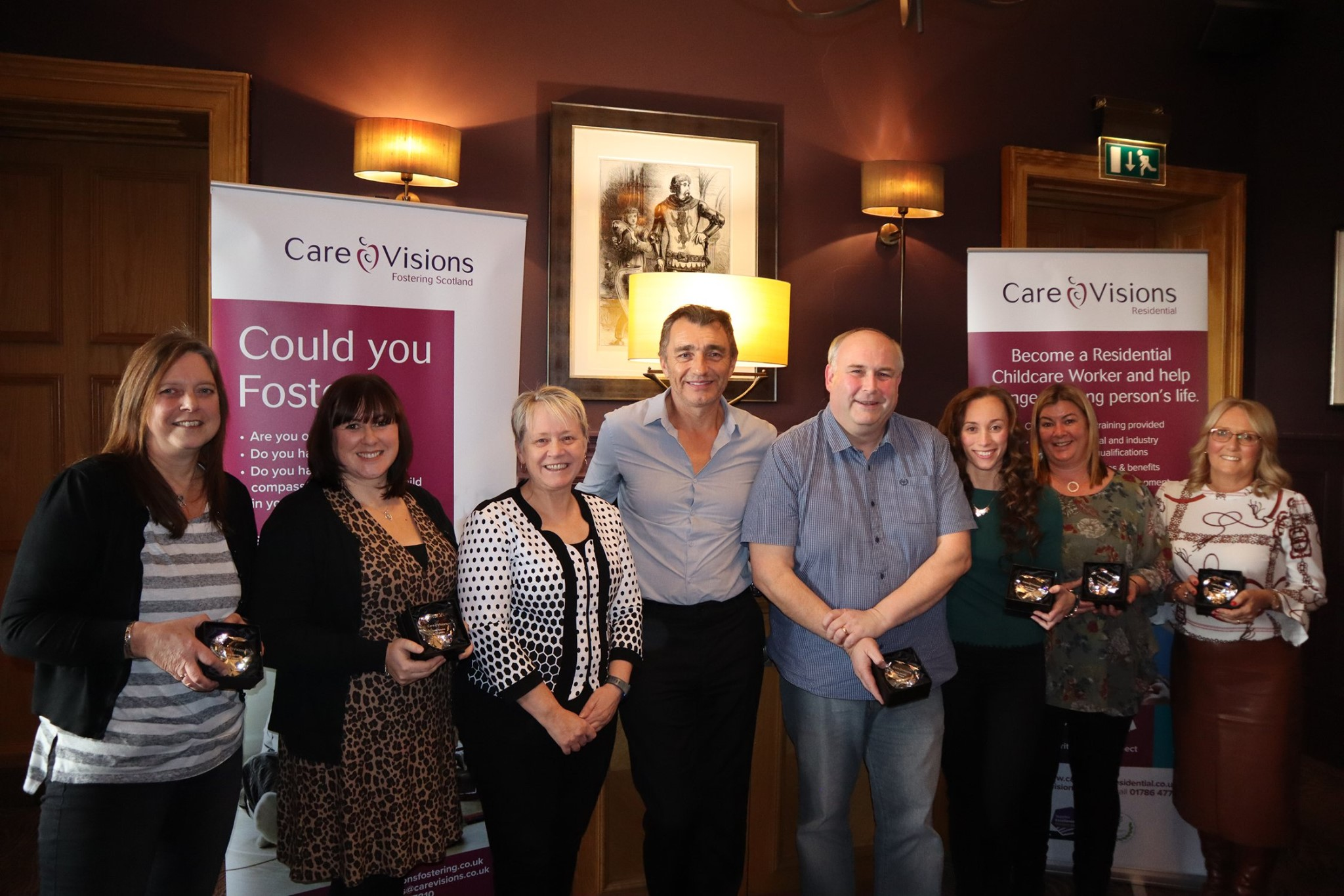 The award winners with Executive Chair of Children's Services Cathy Jamieson and Executive Chairman Mike Reid